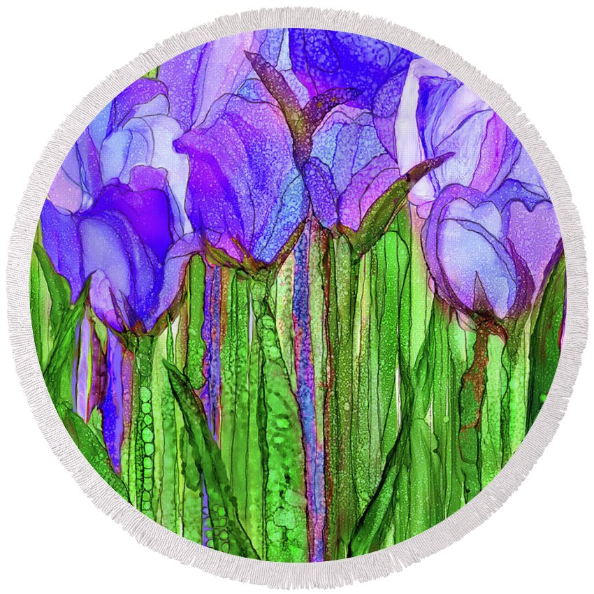 Carol Cavalaris Round Beach Towel featuring the mixed media Tulip Bloomies 1 - Purple by Carol Cavalaris