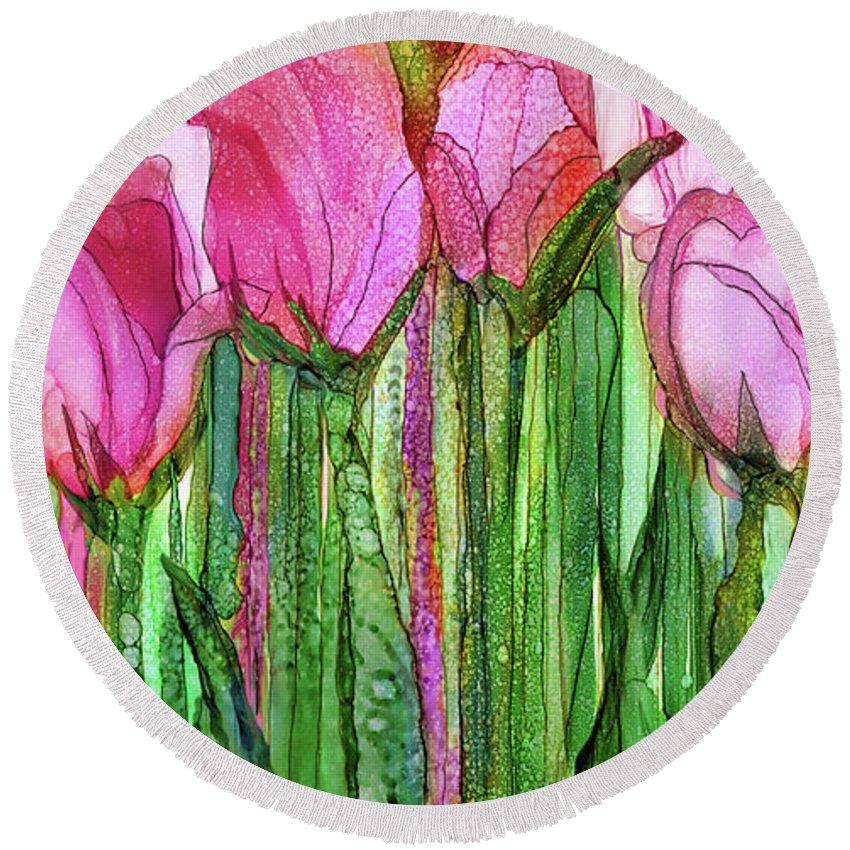 Carol Cavalaris Round Beach Towel featuring the mixed media Tulip Bloomies 2 - Pink by Carol Cavalaris