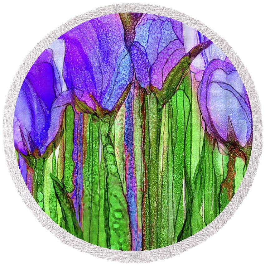 Carol Cavalaris Round Beach Towel featuring the mixed media Tulip Bloomies 2 - Purple by Carol Cavalaris