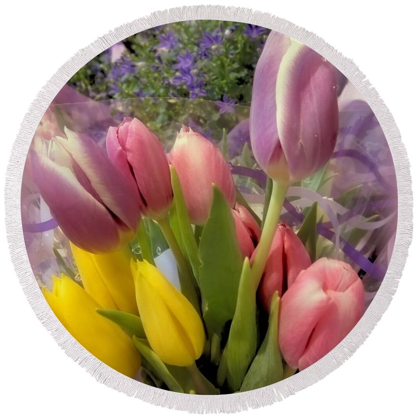 Tulips Round Beach Towel featuring the photograph Tulip Bouquet by MTBobbins Photography