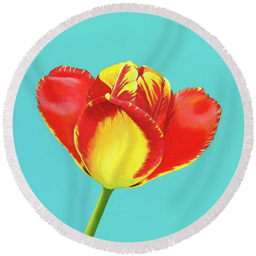 Tulip Round Beach Towel featuring the painting Tulip Burst by Zsuzsanna Rossetter