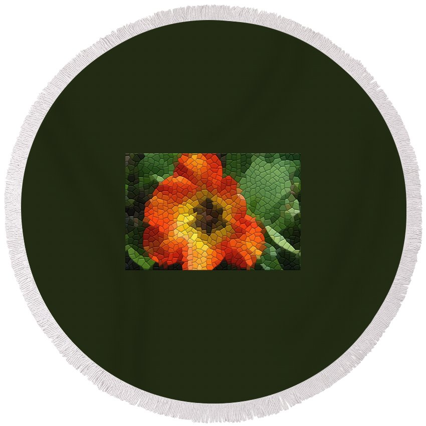 Tulip Round Beach Towel featuring the photograph Tulip by Kathryn Meyer