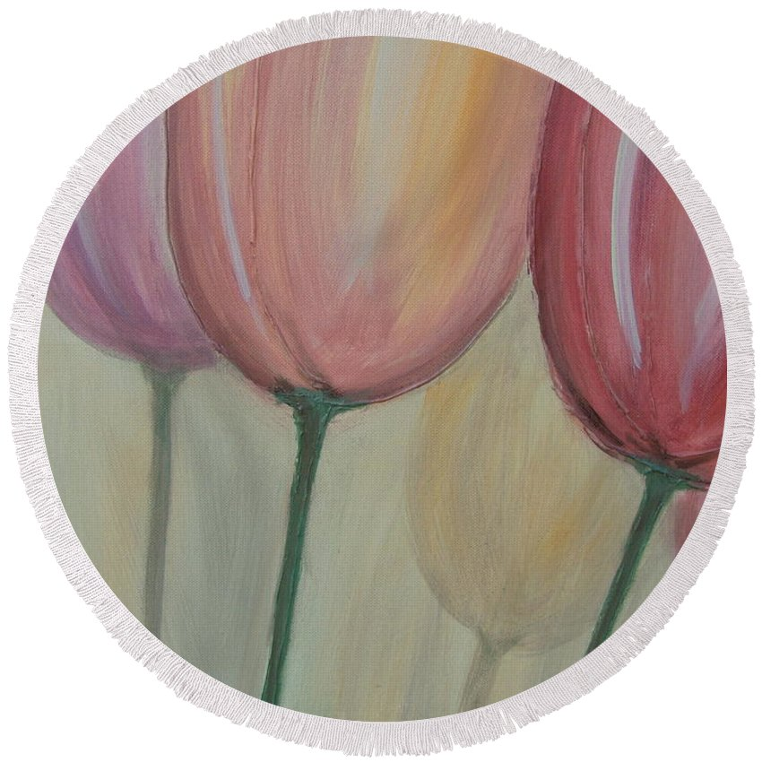 Tulips Round Beach Towel featuring the painting Tulip Series 1 by Anita Burgermeister