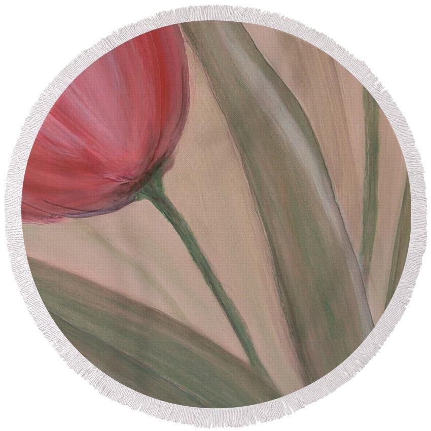 Tulips Round Beach Towel featuring the painting Tulip Series 2 by Anita Burgermeister