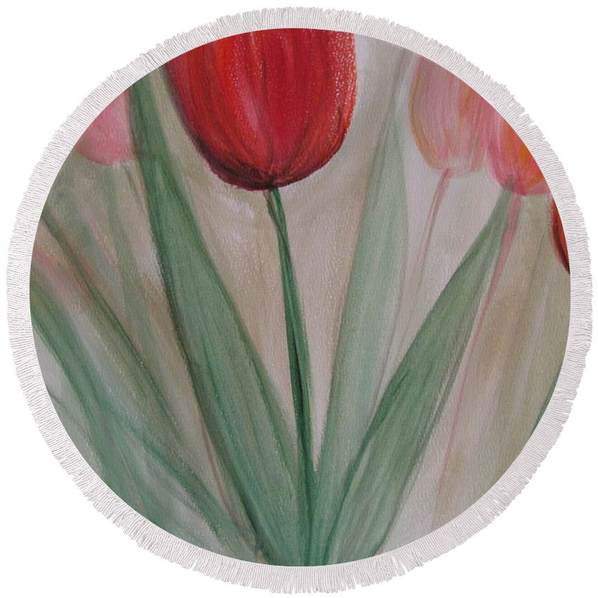 Tulips Round Beach Towel featuring the painting Tulip Series 4 by Anita Burgermeister