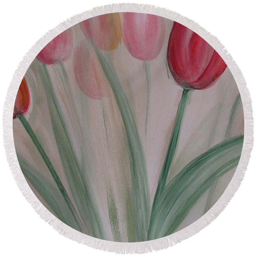 Tulips Round Beach Towel featuring the painting Tulip Series 5 by Anita Burgermeister