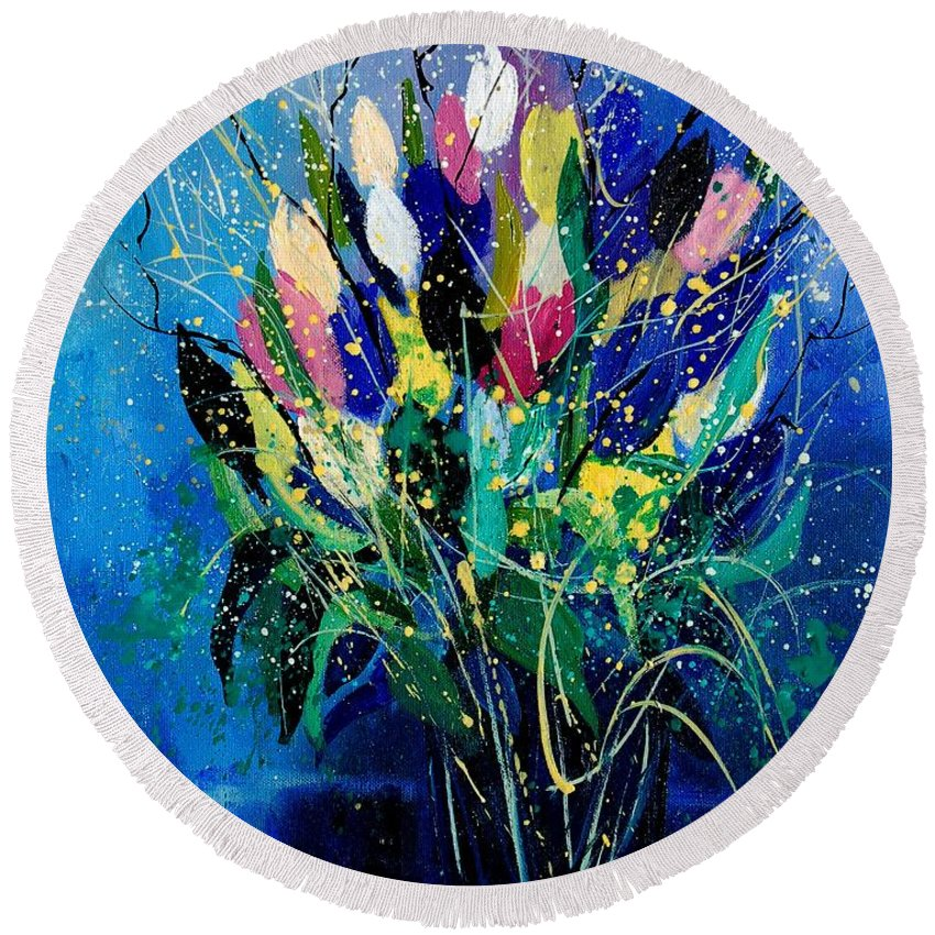 Flowers Round Beach Towel featuring the painting Tulips 45 by Pol Ledent