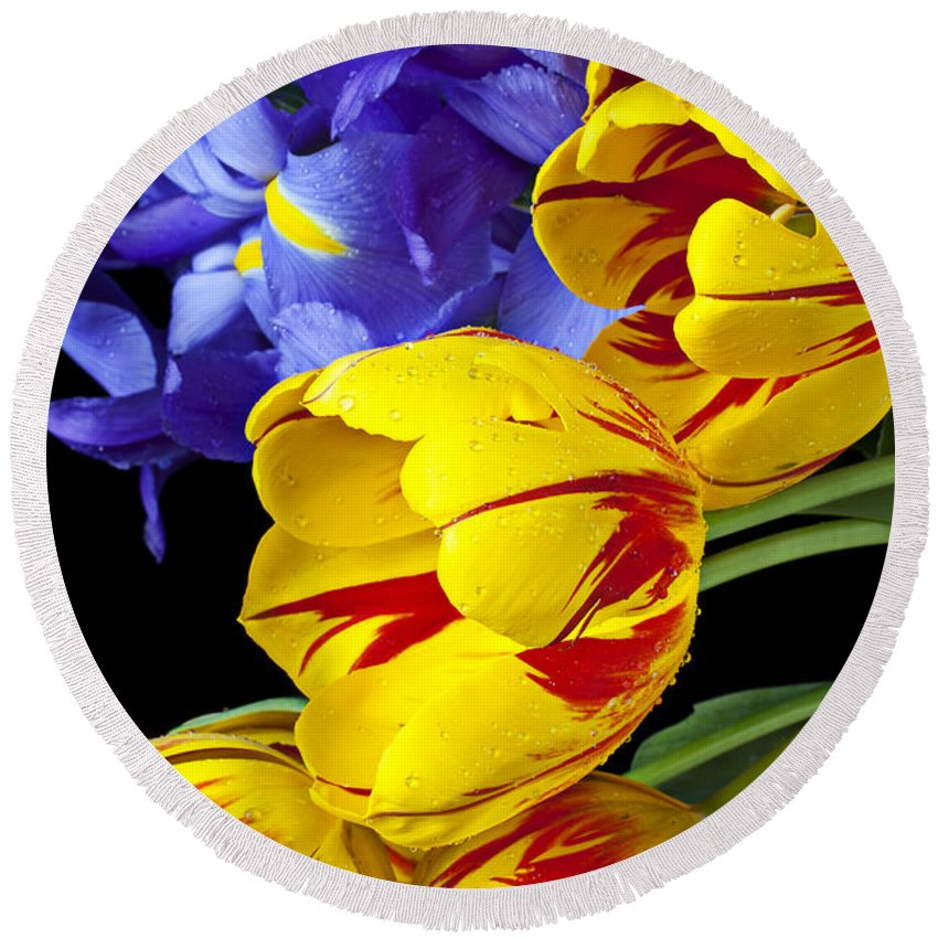 Yellow Round Beach Towel featuring the photograph Tulips And Iris by Garry Gay
