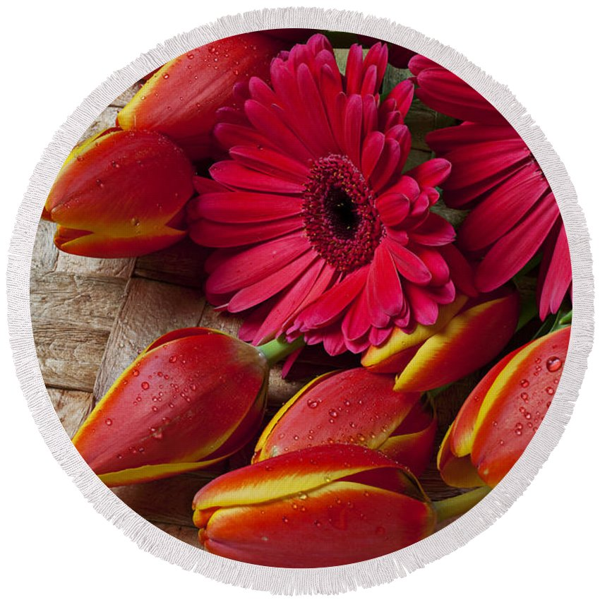 Tulips Red Daisies Flower Floral Round Beach Towel featuring the photograph Tulips And Red Daisies by Garry Gay