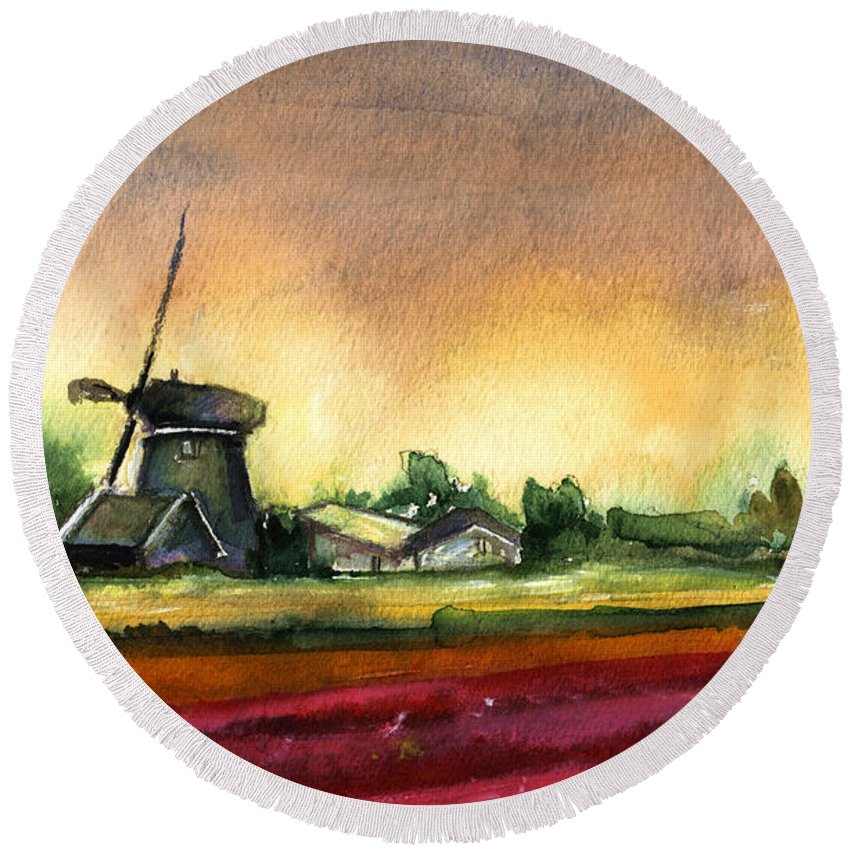 Travel Round Beach Towel featuring the painting Tulips And Windmill From The Netherlands by Miki De Goodaboom