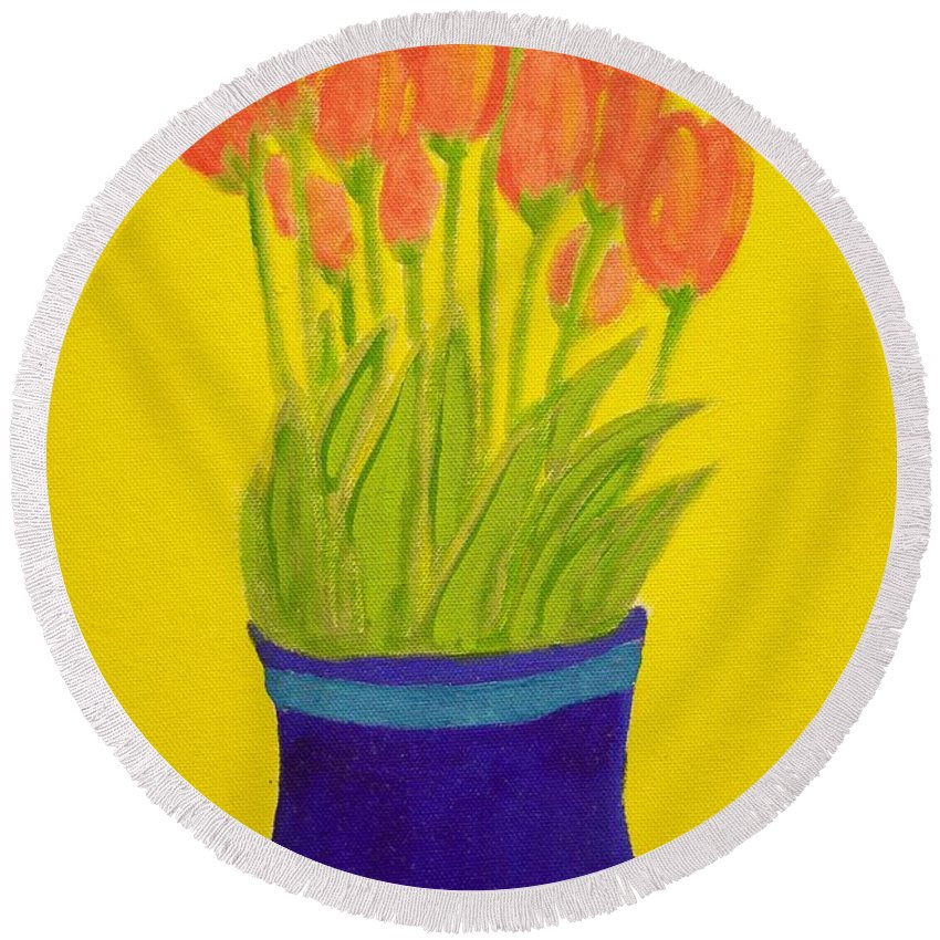 Round Beach Towel featuring the painting Tulips by Audra Smith