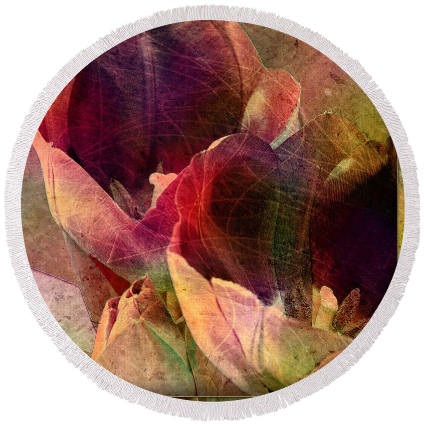 Tulips Round Beach Towel featuring the digital art Tulips by Barbara Berney