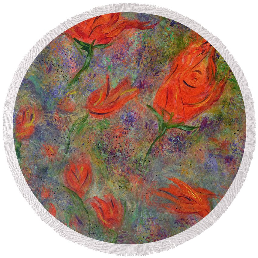 Abstract Art Round Beach Towel featuring the painting Tulips- Floral Art- Abstract Painting by Kathy Symonds