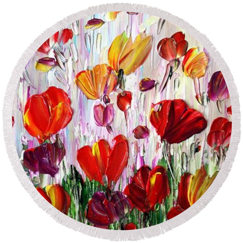 Flowers Round Beach Towel featuring the painting Tulips Flowers Garden Seria by Luiza Vizoli