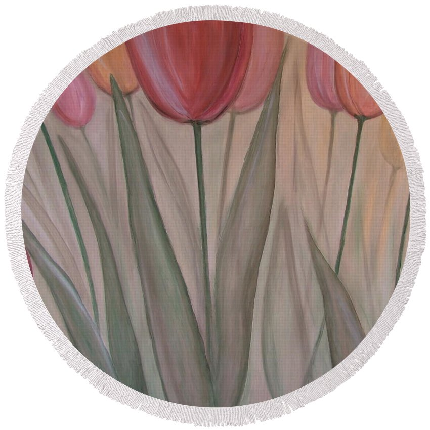 Tulips Round Beach Towel featuring the painting Tulips For Carol by Anita Burgermeister