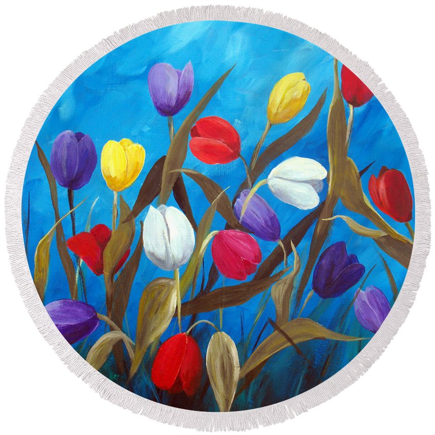 Tulips Round Beach Towel featuring the painting Tulips Galore II by Ruth Palmer