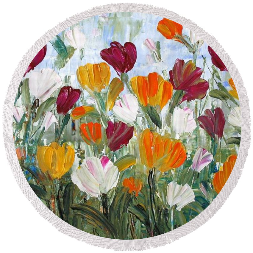 Oil Round Beach Towel featuring the painting Tulips Garden by Luiza Vizoli