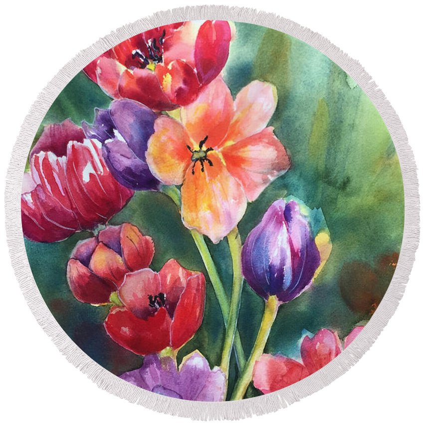 Tulips Round Beach Towel featuring the painting Tulips by Hilda Vandergriff