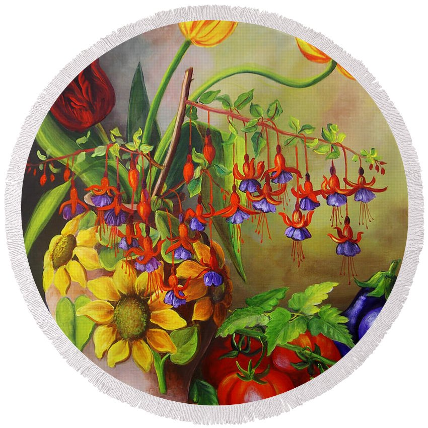 Colorful Round Beach Towel featuring the painting Tulips In A Vase With Some Tomatoes by Dominica Alcantara