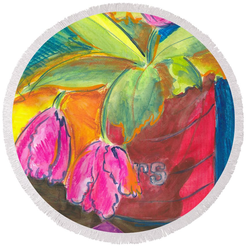 Flowers Round Beach Towel featuring the painting Tulips In Can by Jean Blackmer