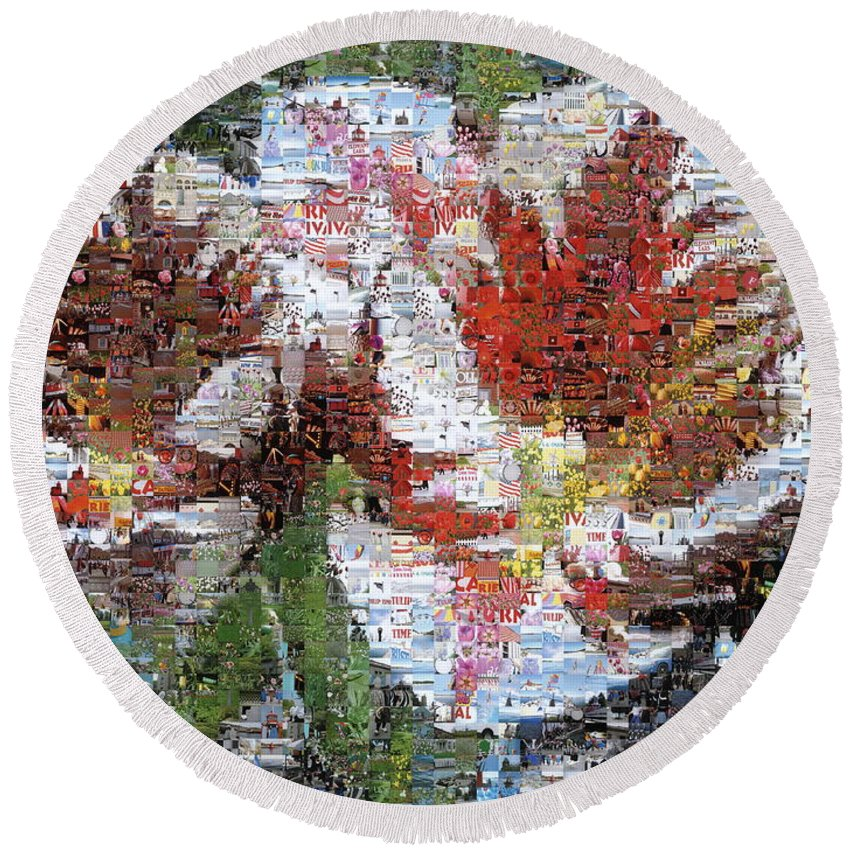 Lighthouse Round Beach Towel featuring the photograph Tulips in Springtime Photomosaic by Michelle Calkins