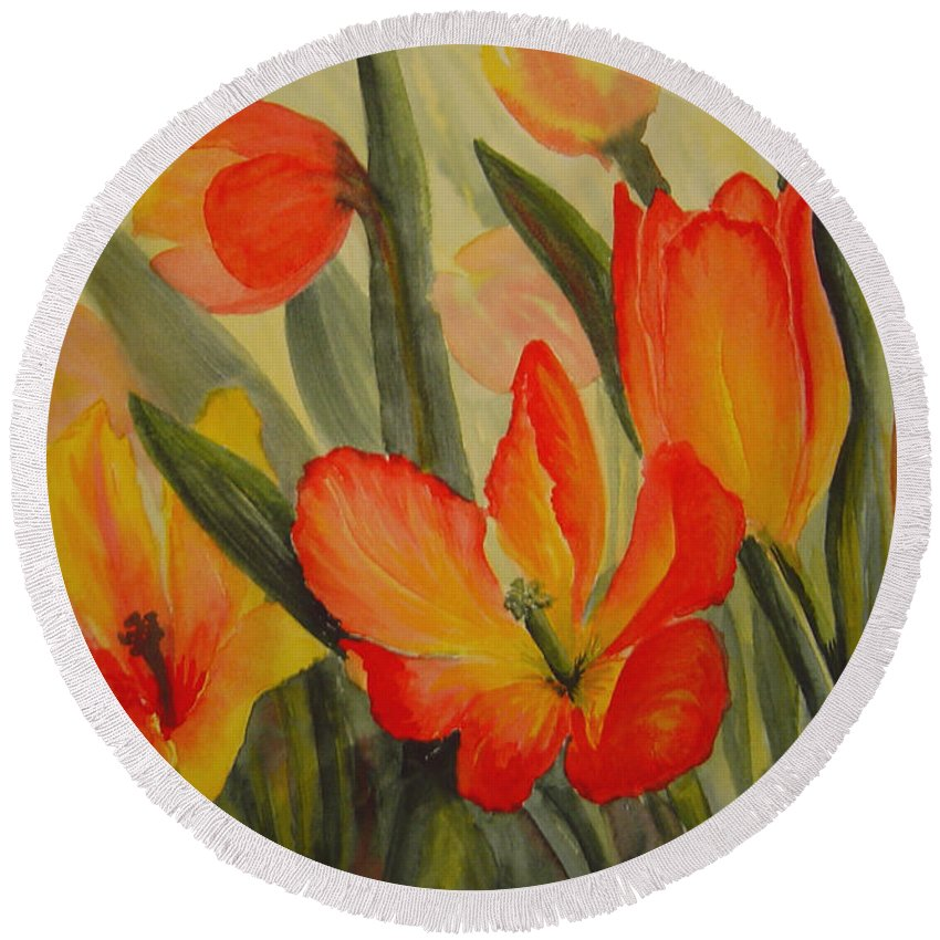 Spring Tulips Round Beach Towel featuring the painting Tulips by Joanne Smoley