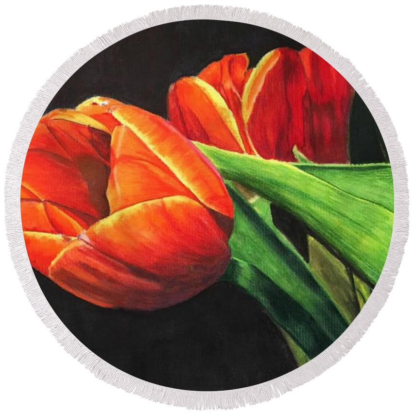 Tulips Round Beach Towel featuring the painting Tulips by Kara Overbee