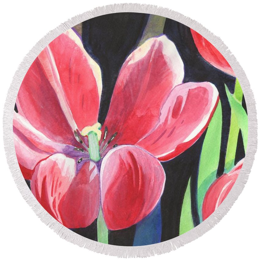 Flower Round Beach Towel featuring the painting Tulips On Black by Helena Tiainen