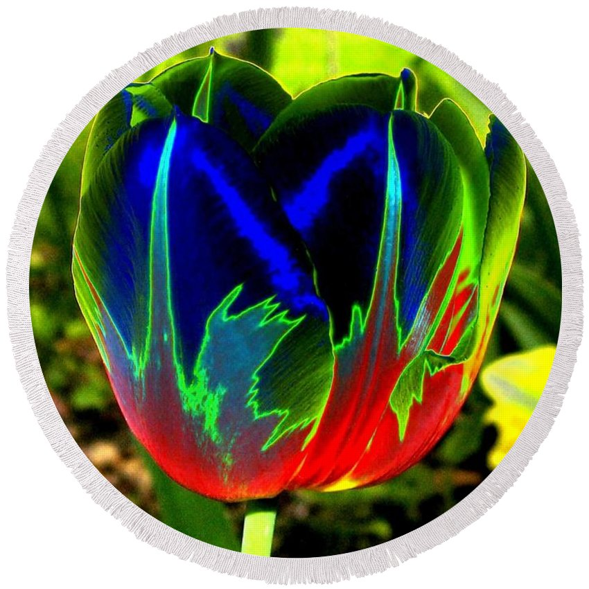 Resplendent Round Beach Towel featuring the digital art Tulipshow by Will Borden