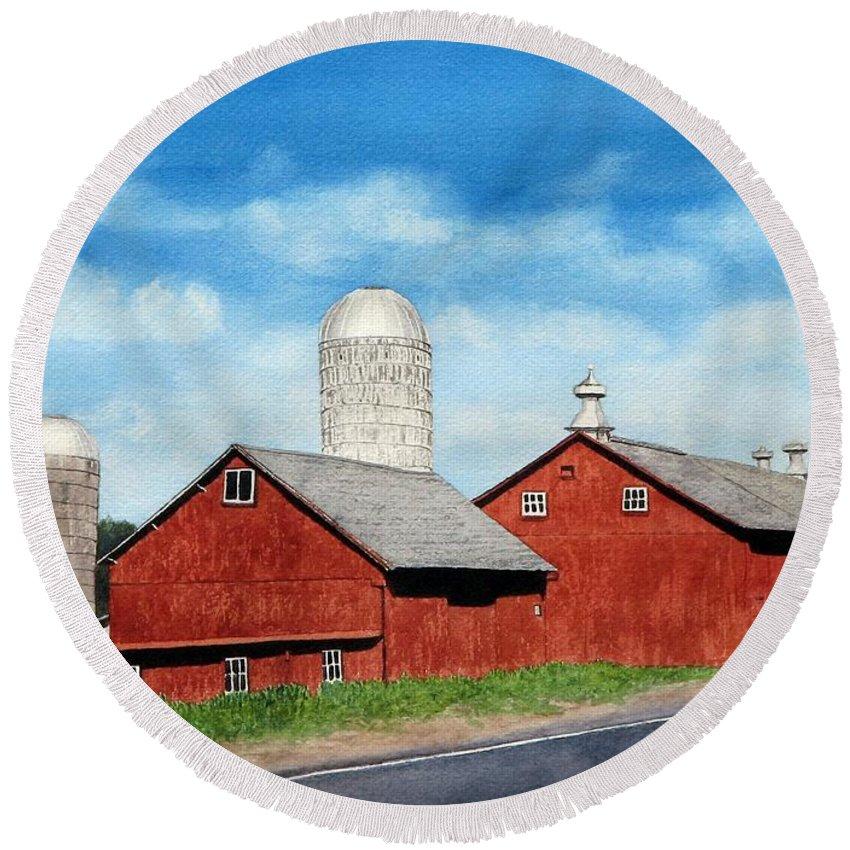Farm Round Beach Towel featuring the painting Tulmeadow Farm by Sharon Farber