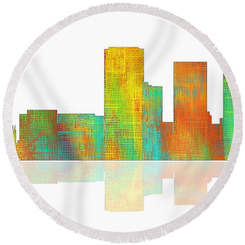 Tulsa Oklahoma Skyline Round Beach Towel featuring the digital art Tulsa Oklahoma Skyline-1 by Marlene Watson