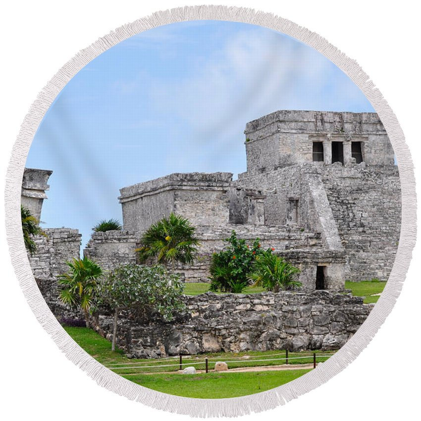Tulum Mexico Round Beach Towel featuring the photograph Tulum Mayan Ruins by Glenn Gordon