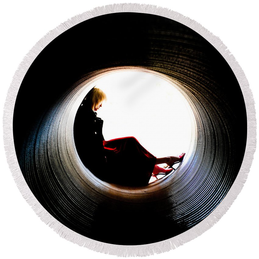 Woman Round Beach Towel featuring the photograph Tunnel by Scott Sawyer