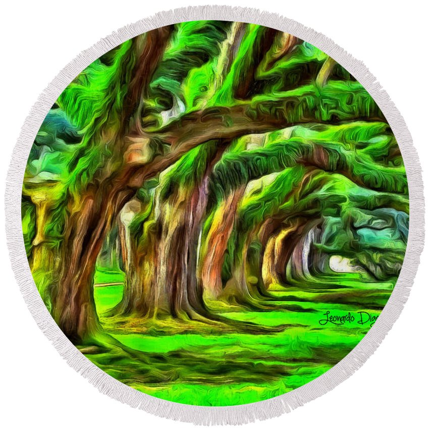 Forest Round Beach Towel featuring the painting Tunnel Tree by Leonardo Digenio