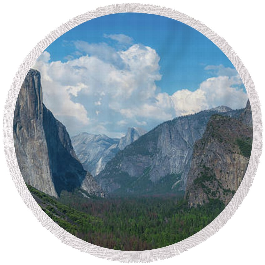 Yosemite Valley Round Beach Towel featuring the photograph Tunnel View In Yosemite by Michael Ver Sprill