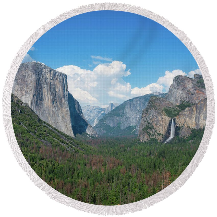 Yosemite Valley Round Beach Towel featuring the photograph Tunnel View by Michael Ver Sprill