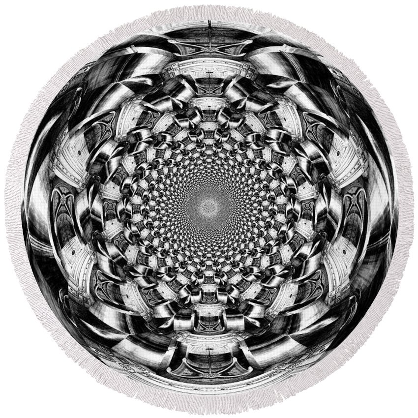 Swirl Round Beach Towel featuring the digital art Tunnel Vision-black And White by Charleen Treasures