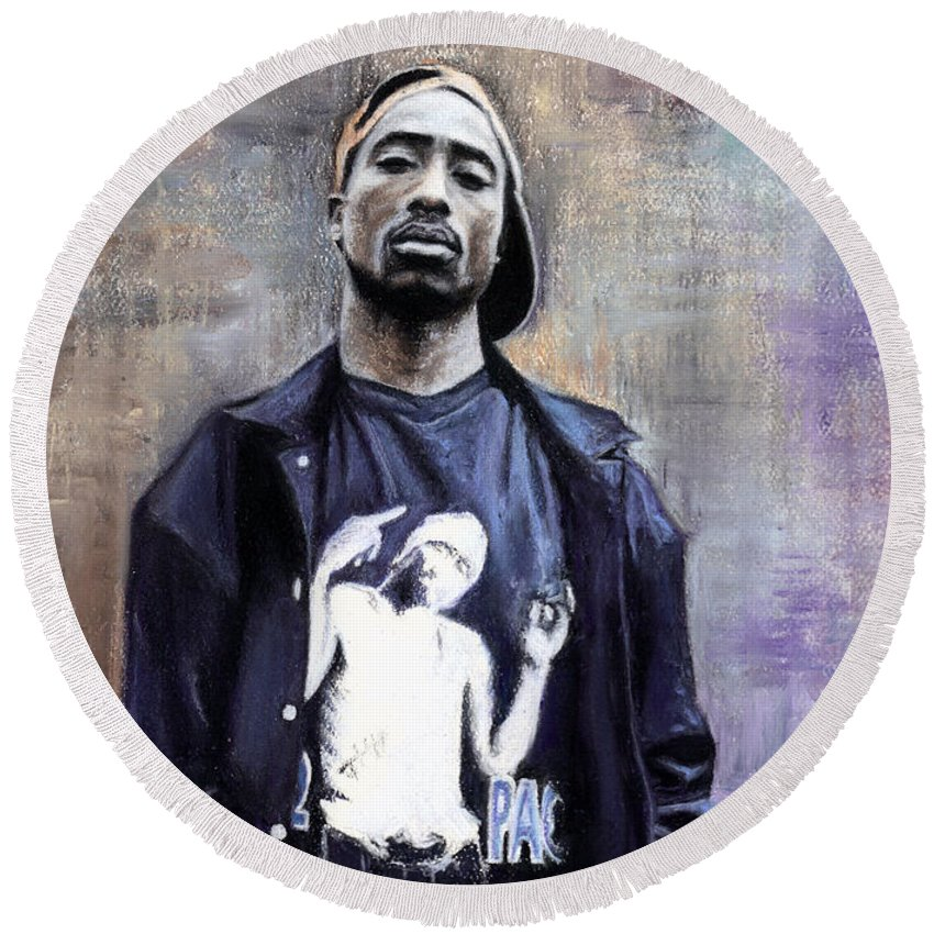 Tupac Shakur Round Beach Towel featuring the pastel Tupac Shakur by Raymond Lee Warfield Junior