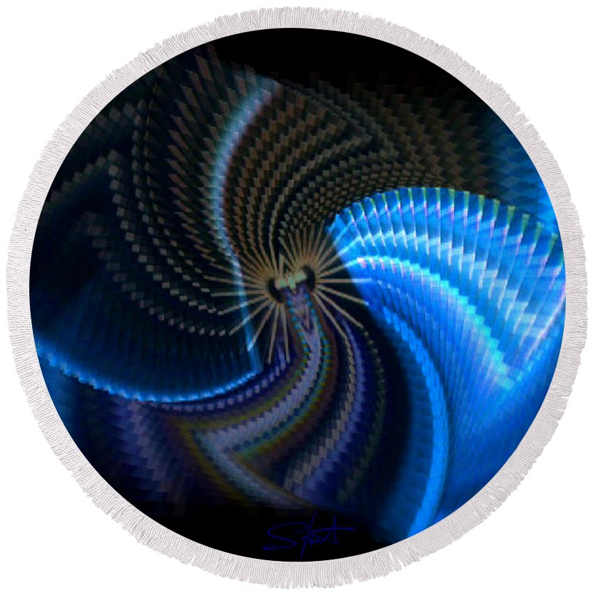Chaos Round Beach Towel featuring the photograph Turbine Dynamo by Charles Stuart