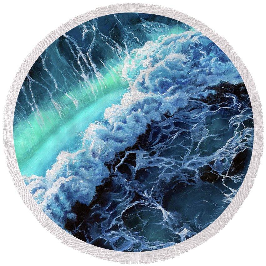 Ocean Round Beach Towel featuring the painting Turbulence by Amani Al Hajeri