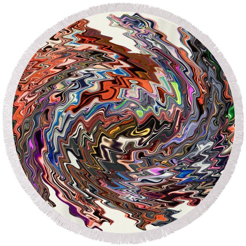 Motion Round Beach Towel featuring the digital art Turbulence II by Jim Fitzpatrick