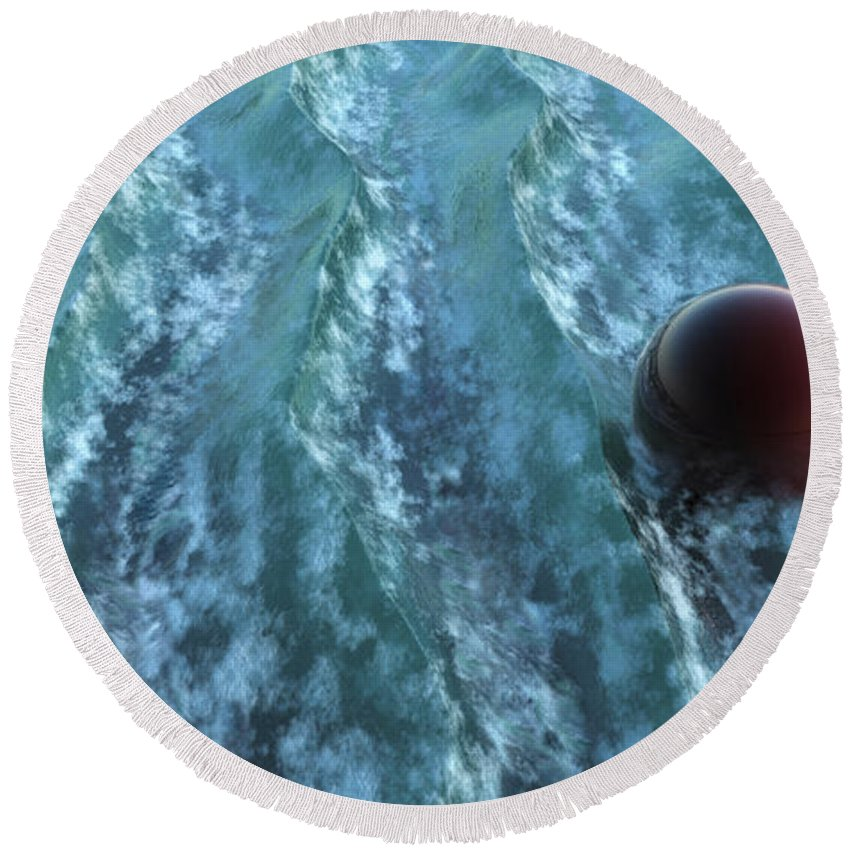 Waves Round Beach Towel featuring the digital art Turbulence by Richard Rizzo
