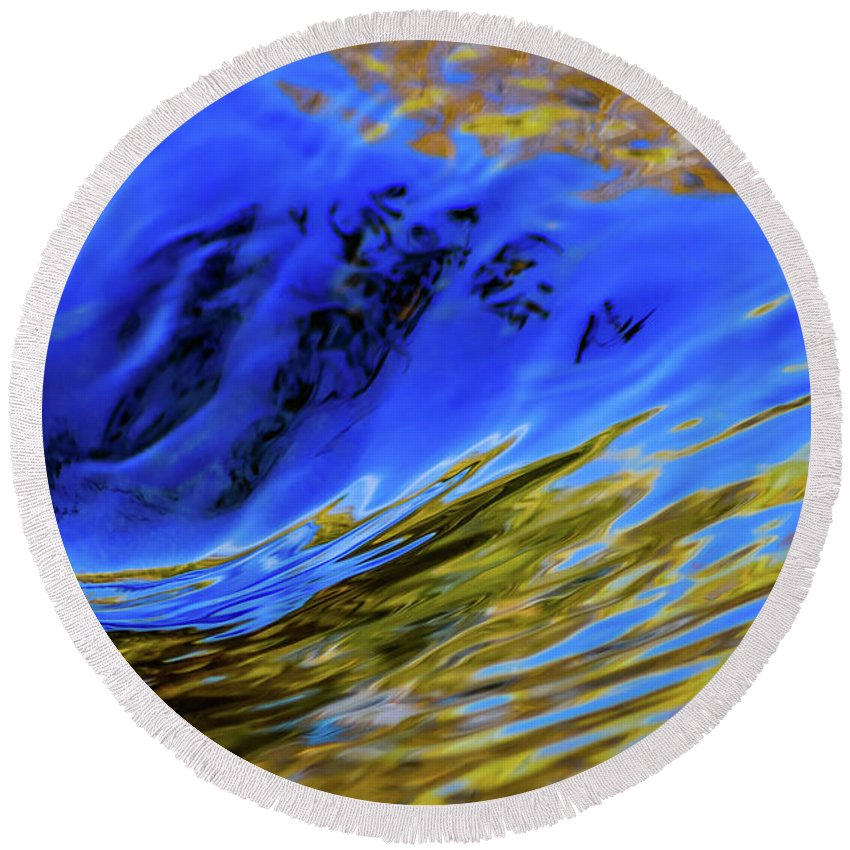 Water Round Beach Towel featuring the photograph Turbulent Fall Reflections by Keith Lander