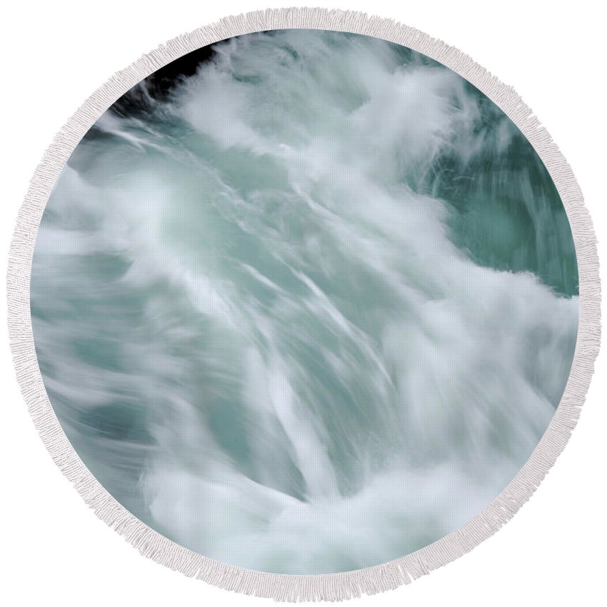Sea Round Beach Towel featuring the photograph Turbulent Seas by Donna Blackhall