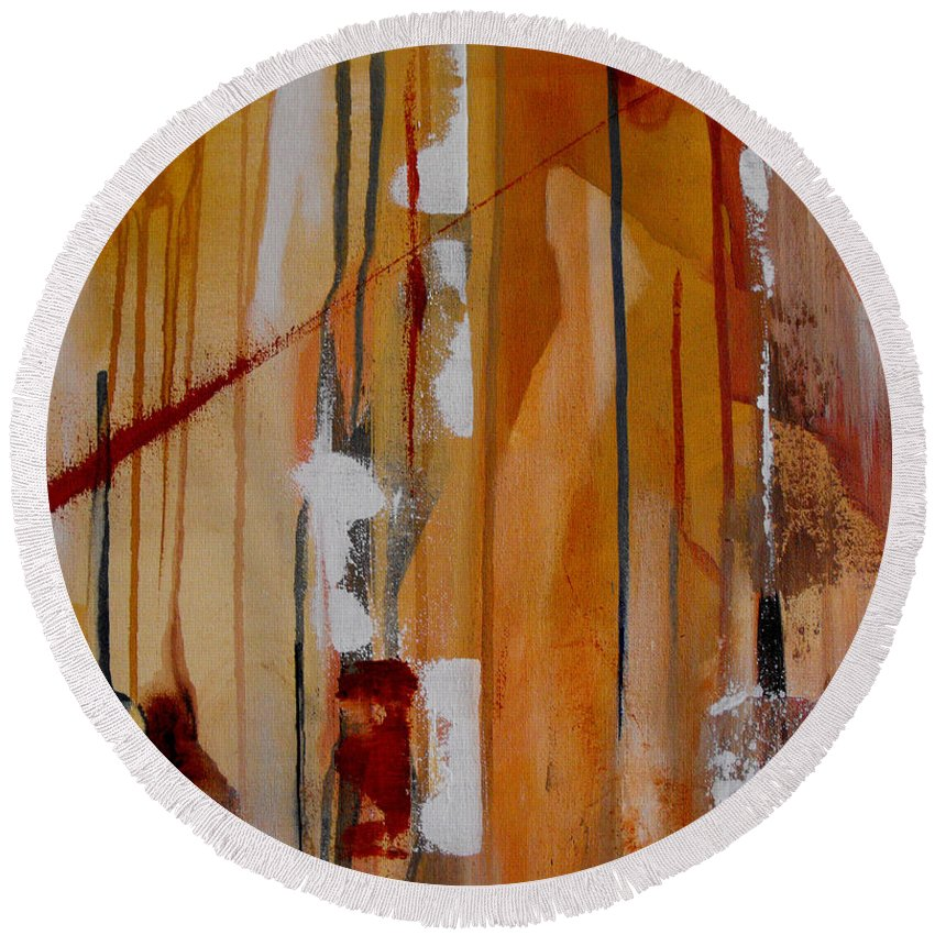 Abstract Round Beach Towel featuring the painting Turbulent Times by Ruth Palmer