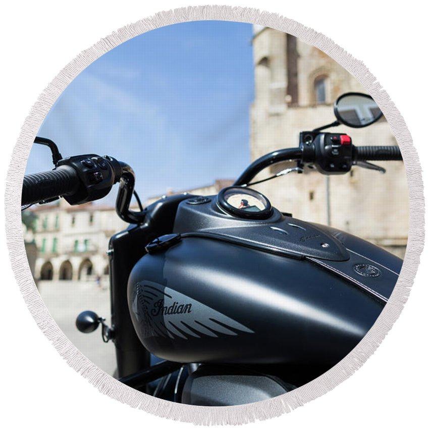 Motorbike Round Beach Towel featuring the photograph Turgalium Motorcycle Club 01 by Sam Garcia