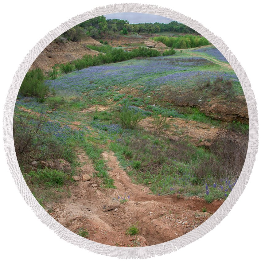 Texas Round Beach Towel featuring the photograph Turkey Bend Park Texas Rough Road by JG Thompson
