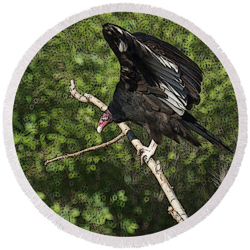 Turkey Vulture Round Beach Towel featuring the digital art Turkey Vulture by Ernie Echols