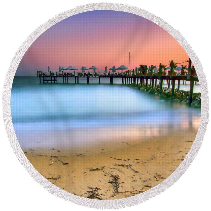 Turkey Round Beach Towel featuring the photograph Turkish Sunset by Nadia Sanowar