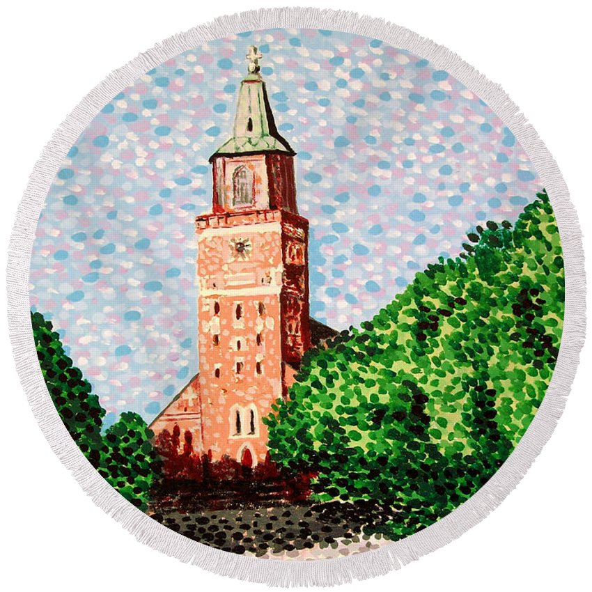 Finnish Round Beach Towel featuring the painting Turku Cathedral by Alan Hogan